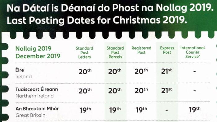 Postal Dates Christmas 2019