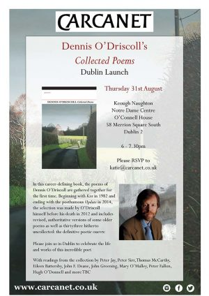 Book Launch: Dennis O'Driscoll Collected Poems: 31 August